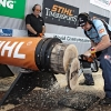 Martin Komarek of Czech Republic in action during the  Stihl Timbersports Championships 2011 in Roermond, Netherlands today on September 3rd. The event was won by Jason Wynyard of New Zealand, followed by Christophe Geissler of Switzerland and Martin Komarek of Czech Republic. Free image for editorial usage only: Photo by Sebastian Marko for Global Newsroom FOR EDITORIAL USE ONLY. For more pictures, videos and TV material go to www.global-newsroom.com. info +43 664 380 50 53