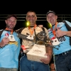 Christophe Geissler of Switzerland (left), Jason Wynyard of New Zealand (Middle) and Martin Komarek of Czech Republic celebrate during the victory ceremony of the  Stihl Timbersports Championships 2011 in Roermond, Netherlands today on September 3rd. The event was won by Jason Wynyard of New Zealand, followed by Christophe Geissler of Switzerland and Martin Komarek of Czech Republic. Free image for editorial usage only: Photo by Andreas Schaad for Global Newsroom FOR EDITORIAL USE ONLY.  For more pictures, videos and TV material go to www.global-newsroom.com. info +43 664 380 50 53