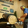 Winner Jason Wynyard of New Zealand performs during the finals of the Stihl Timbersports World Championship in Lillehammer, Norway on September 8, 2012.