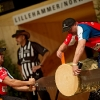 A member of the Czech team performs during the finals of the Stihl Timbersports World Championship in Lillehammer, Norway on Spetember 7, 2012.