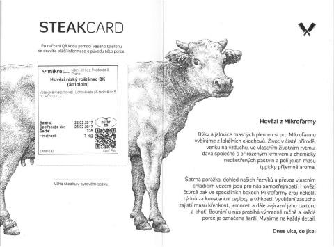 Steak card - hovězí nízký rostěnec